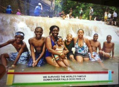 Family at top of Dunn's River Falls