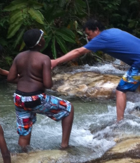Helping others at Dunn's River Falls