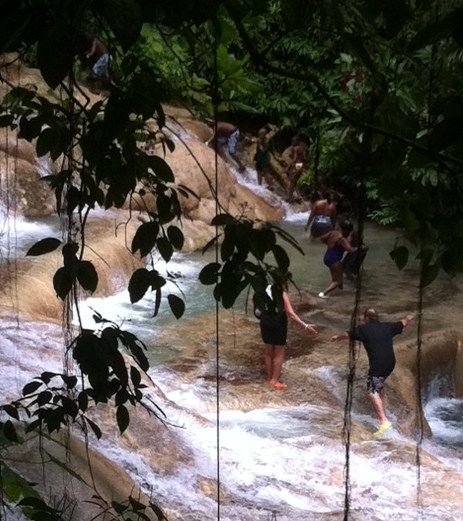 Watching your step at Dunn's River Falls