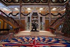 Decorated Atrium of cruise ship