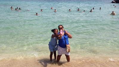 Wife and Daughter Friars Beach St. Kitts