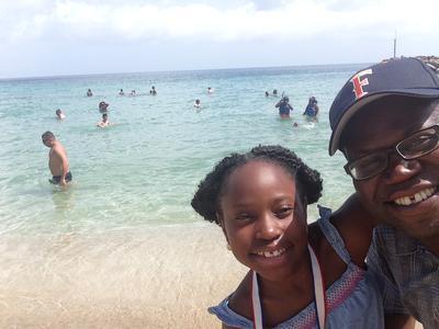Daughter and I at Friars Beach