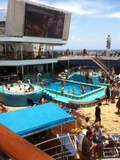 Pool and TV on Lido Deck