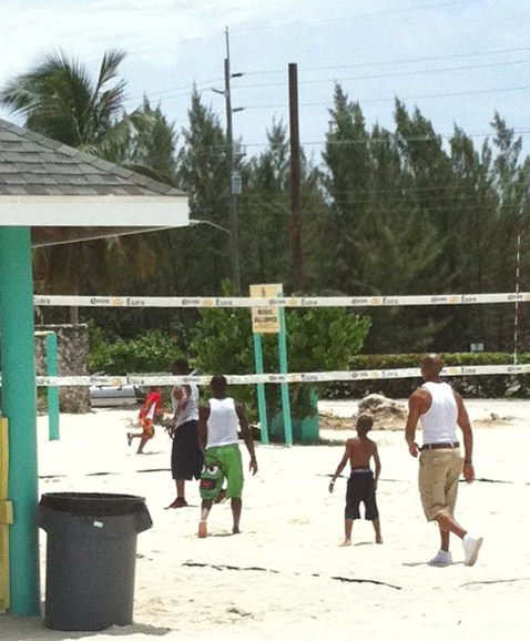 Playing Volley at Seven Mile Beach