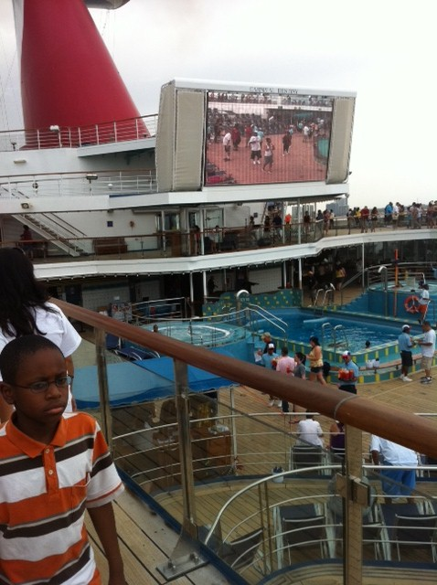Giant TV Screen on Carnival Destiny