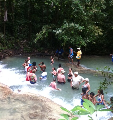Resting in water at Dunn's River Falls