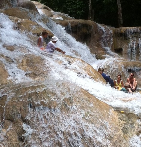 Sitting in the water at Dunn's River Falls