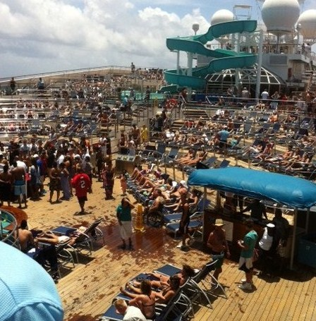 Crowded Pool Area on Carnival Destiny