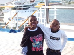 Boys hug as Carnival Glory leaves Canaveral