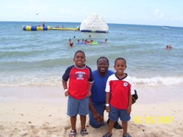 Family on Beach in Costa Maya