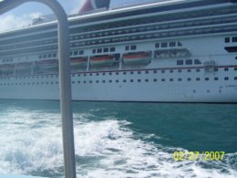 Leaving Carnival Glory to Belize